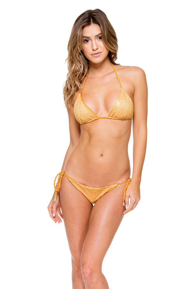 OBSESSION - Triangle Top & Wavey Ruched Back Brazilian Tie Side Bottom • Cuban Sunset