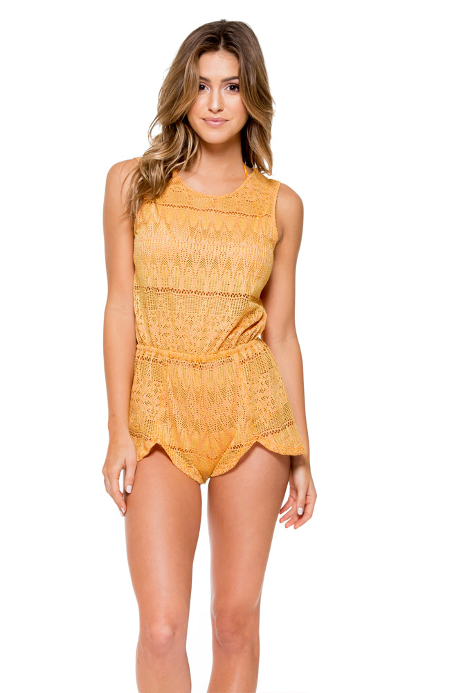 OBSESSION - Scalloped Romper • Cuban Sunset