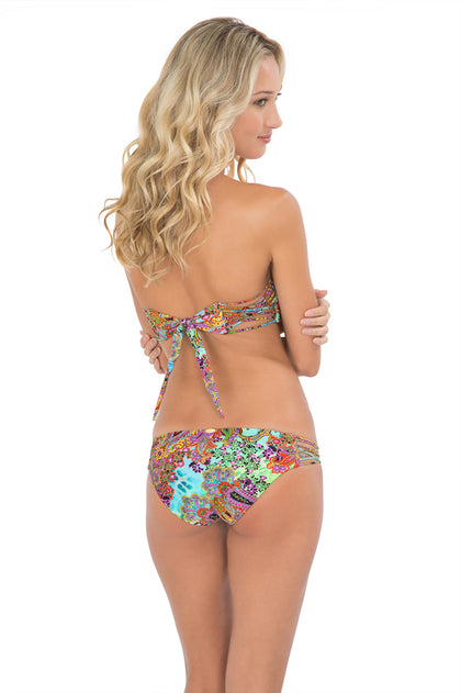 TORNASOL - Criss Cross Bandeau Top With Removable Tassel & Criss Cross Sides Full Bottom • Multicolor