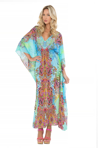 "TORNASOL - ""eyes On Me"" Long Caftan • Multicolor"