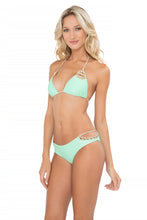 CORAZON LOCO - Crochet Cut Out Triangle Top & Crochet Sides Open Moderate Bottom • Mint Convertible