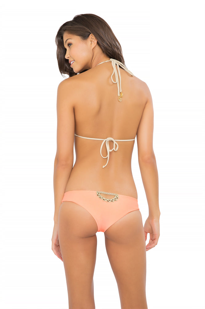 CORAZON LOCO - Crochet Cut Out Triangle Top & Sexy Back Skimpy Bottom • Miami Peach