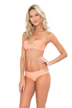 CORAZON LOCO - Crochet Open Front Bandeau & Crochet Sides Open Moderate Bottom • Miami Peach