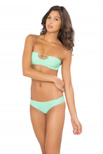 CORAZON LOCO - Crochet Open Front Bandeau & Sexy Back Skimpy Bottom • Mint Convertible