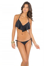 WILD CARD - Cascade Push Up Underwire Top & Pom Pom Brazilian Tieside Bottom • Black