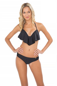 WILD CARD - Cascade Push Up Underwire Top & Pom Pom Sassy Cheeks • Black