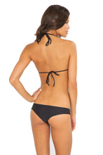 WILD CARD - Pom Pom Triangle Top & Seamless Thong Bottom • Black