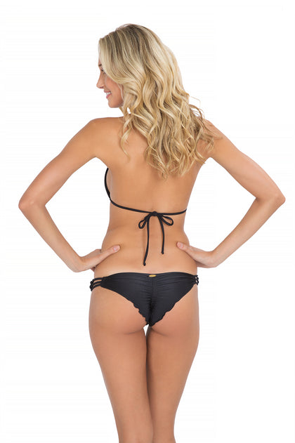 FLORCITAS DE ARENA - Triangle Top & Hand Knit Crochet Flower Side Brazilian Ruched Back Bottom • Black