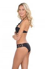 FLORCITAS DE ARENA - Hand Knit Crochet Flower  Push Up Bandeau & Hand Knit Crochet Flow.full Bottom • Black