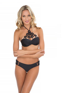 FLORCITAS DE ARENA - Hand Knit Crochet Flower  Push Up Bandeau & Hand Knit Crochet Flow.full Bottom • Black (865253163052)