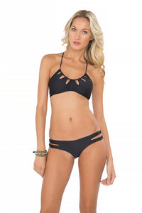 BORRACHERA DE MAR - Zig Zag Cut Out Bra & Zig Zag Open Side Moderate Bottom • Black