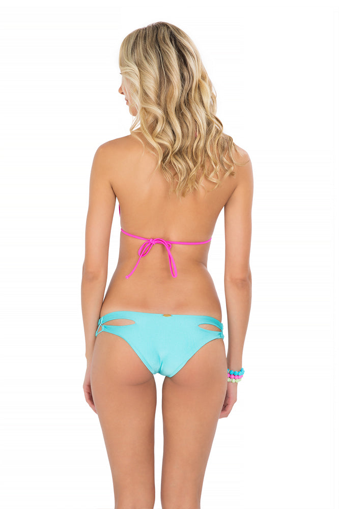 BORRACHERA DE MAR - Zig Zag Knotted Cut Out Triangle & Zig Zag Open Side Moderate Bottom • Aruba Blue