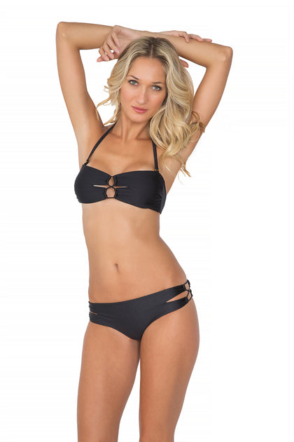 BORRACHERA DE MAR - Zig Zag Open Center Bandeau & Zig Zag Open Side Full Bottom • Black