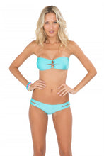BORRACHERA DE MAR - Zig Zag Open Center Bandeau & Zig Zag Open Side Full Bottom • Aruba Blue