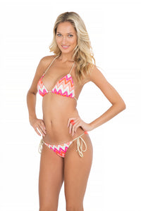 FLAMINGO BEACH - Triangle Top & Wavey Ruched Back Brazilian Tie Side Bottom • Multicolor (865251754028)