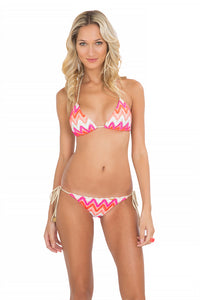 FLAMINGO BEACH - Triangle Top & Wavey Ruched Back Full Tie Side Bottom • Multicolor