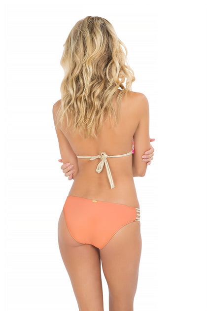 FLAMINGO BEACH - Triangle Halter Top & Braided Side Full Bottom • Multicolor