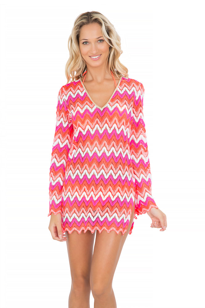 FLAMINGO BEACH - Plunge Dress • Multicolor