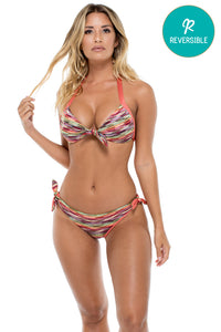 CHA CHA CHA - Lola Molded Push Up Bandeu Halter Top & Cayo Hueso Moderate Bottom • Multicolor