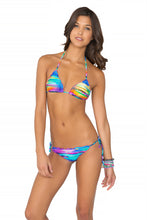 CIELITO LINDO - Wavey Triangle Top & Wavey Ruched Back Brazilian Tie Side Bottom • Multicolor