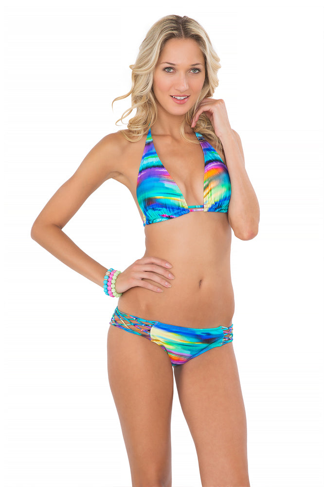 CIELITO LINDO - Triangle Halter Top & Knotted Net Sides Full Bottom • Multicolor