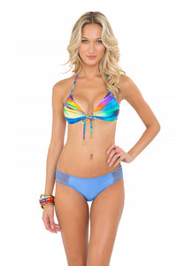 CIELITO LINDO - Molded Push Up Bandeau Halter Top & Multi Braid Full Bottom • Sea Angel