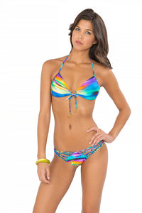 CIELITO LINDO - Molded Push Up Bandeau Halter Top & Strappy Brazilian Ruched Back Bottom • Multicolor
