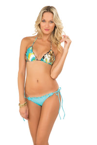 CARIBE MON AMOUR - Wavey Triangle Top & Wavey Full Tie Side Ruched Back • Aruba Blue