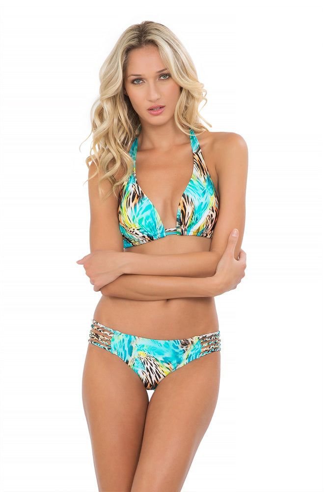 CARIBE MON AMOUR - Triangle Halter Top & Braided Side Full Bottom • Multicolor