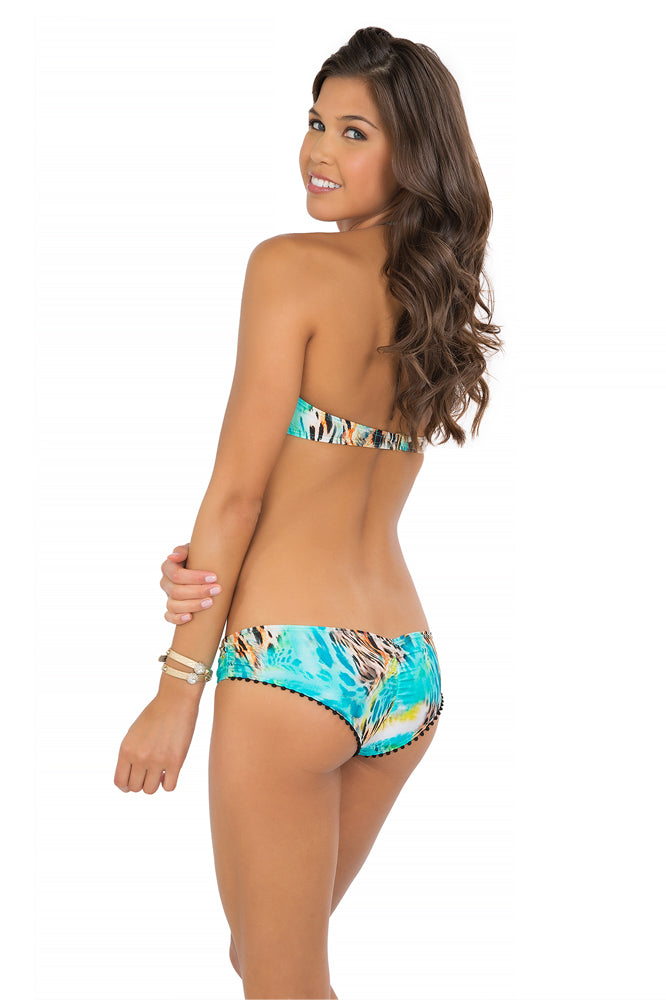 CARIBE MON AMOUR - Underwire Push Up Bandeau Top & Pom Pom Back Sassy Cheeks • Multicolor