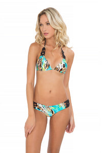 CARIBE MON AMOUR - Triangle Top & Crochet Flower Sides Moderate Bottom • Multicolor