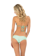 CARIBE MON AMOUR - Molded Push Up Bandeau Halter Top & Wavey Brazilian Ruched Back Bottom • Mint Convertible