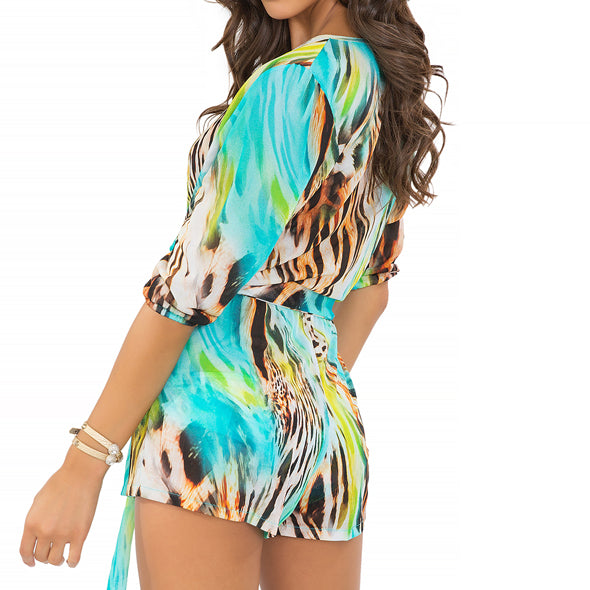 CARIBE MON AMOUR - Wrap Front 3/4 Sleeve Romper