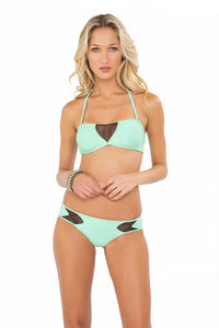 FOR YOUR EYES ONLY - V Cut Net Bandeau & Net Sides Full Bottom • Mint Convertible (874436427820)