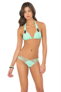 FOR YOUR EYES ONLY - Net Sides Cheeky Bottoms & Strappy Brazilian Ruched Back Bottom • Mint Convertible