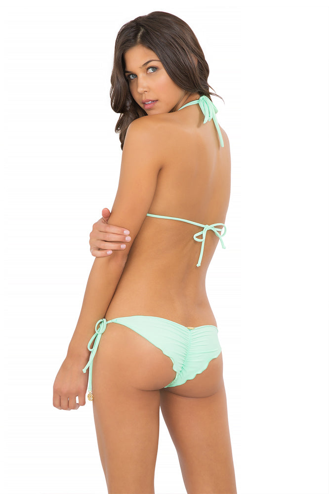 FOR YOUR EYES ONLY - Net Insert Halter Top & Net Sides Brazilian Ruched Back Tie Side • Mint Convertible