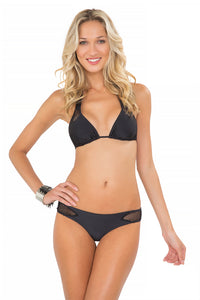 FOR YOUR EYES ONLY - Net Insert Halter Top & Net Sides Cheeky Bottoms • Black (874434625580)