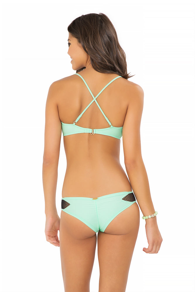 FOR YOUR EYES ONLY - Net Front Criss Cross Back Sporty & Net Sides Cheeky Bottoms • Mint Convertible
