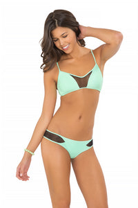 FOR YOUR EYES ONLY - Net Front Criss Cross Back Sporty & Net Sides Cheeky Bottoms • Mint Convertible (874431938604)