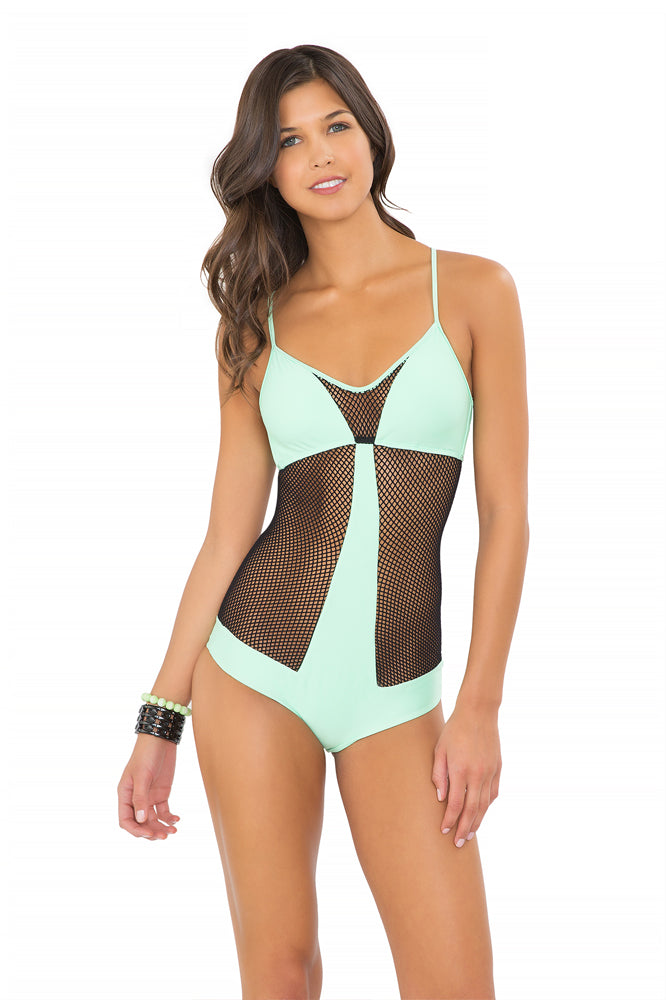 FOR YOUR EYES ONLY - Net Insert Criss Cross One Piece • Mint Convertible