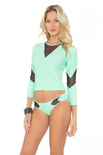 FOR YOUR EYES ONLY - V Front Net Insert Rashguard & Net Sides Moderate Bottom • Mint Convertible
