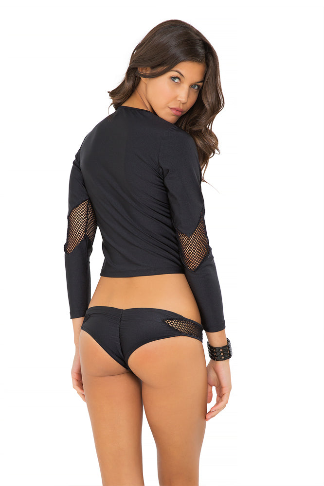 FOR YOUR EYES ONLY - V Front Net Insert Rashguard & Net Sides Cheeky Bottoms • Black