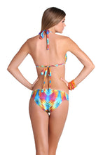 PLAYA VERANO - Triangle Halter Top & Braided Side Full Bottom • Multicolor
