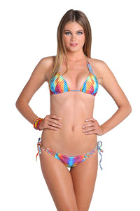PLAYA VERANO - Triangle Top & Interwine Ruched Tie Side Minimal Coverage Bottom • Multicolor