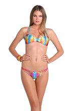 PLAYA VERANO - Multi Cross Strap Bra Top & Strappy Brazilian Ruched Back Bottom • Multicolor