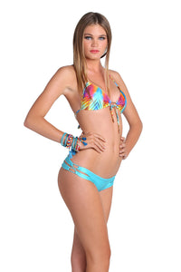 PLAYA VERANO - Molded Push Up Bandeau Halter Top & Zig Zag Open Side Skimpy Bottom • Aruba Blue