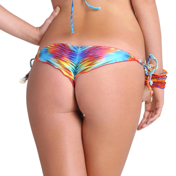 PLAYA VERANO - Interwine Ruched Tie Side Minimal Coverage Bottom