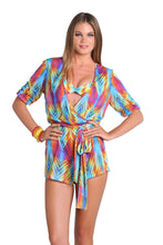 PLAYA VERANO - Wrap Front 3/4 Sleeve Romper • Multicolor