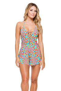 STAR GIRL - Deep V Laced Romper • Multicolor
