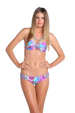 SOL BRILLANTE - Underwire Push Up Bandeau Top & Crochet Flower Sides Moderate Bottom • Multicolor